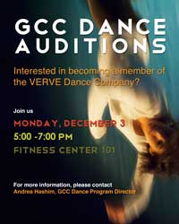 poster for Verve dance auditions at Glendale Community College