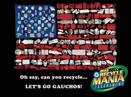 "image of flag and text ""Oh Say Can You Recycle?"""
