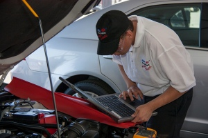 photo of student competing in Ford/AAA Auto Skills Competition