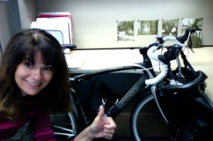 photo of Judy Fleming and her bike