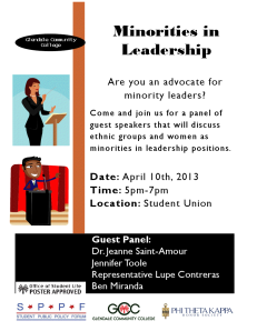 poster for Minorities in Leadership panel