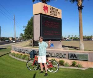 photo of Dr. Reavis biking to GCC