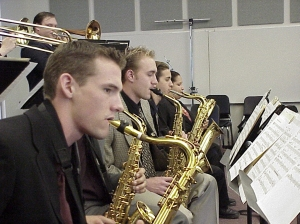 photo of row of GCC saxophone players