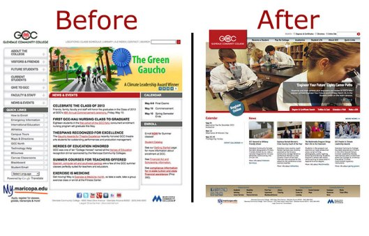 Before and after screen shots of GCC website